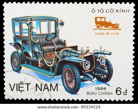 VIETNAM - CIRCA 1984: A stamp printed by VIETNAM shows old car, series, circa 1984 - stock photo