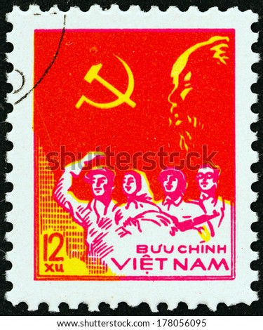 "VIETNAM - CIRCA 1978: A stamp printed in North Vietnam from the ""33rd Anniversary of Proclamation of Vietnam Democratic Republic "" issue shows Worker, Peasant, Soldier and Intellectual, circa 1978.  - stock photo"