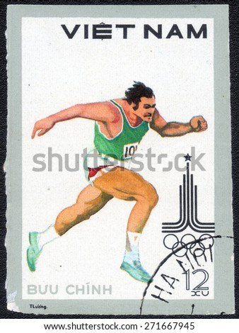 VIETNAM - CIRCA 1980: A stamp printed in VIETNAM, Olympic games Moscow 1980, circa 1980  - stock photo