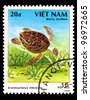 VIETNAM - CIRCA 1988: A stamp printed in VIETNAM shows a Eretmochelys imbricata, series, circa 1988 - stock photo