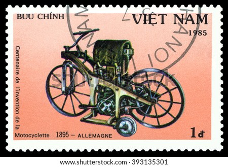 VIETNAM - CIRCA 1975 : a stamp printed in Vietnam, shows an old motorcycle Germany 1895,  stamp devoted to the centenary of the invention of motorcycle , cirka 1985 - stock photo