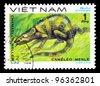 VIETNAM - CIRCA 1983: A stamp printed in Vietnam shows animal reptile chameleon, circa 1983 - stock photo