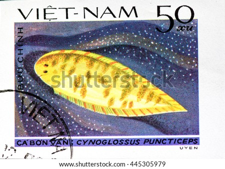 VIETNAM - CIRCA 1982: A Stamp printed in VIETNAM shows Cynoglossus puncticeps, circa 1982 - stock photo