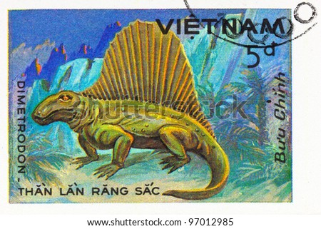 VIETNAM - CIRCA 1984: A stamp printed in Vietnam shows Dimetrodon, series devoted to prehistoric animals, circa 1984 - stock photo