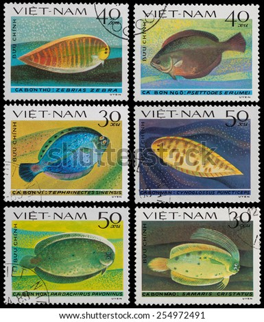 VIETNAM - CIRCA 1982: A Stamp printed in VIETNAM shows Flounder, circa 1982 - stock photo