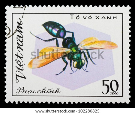 VIETNAM - CIRCA 1982: A stamp printed in Vietnam shows insect, circa 1982