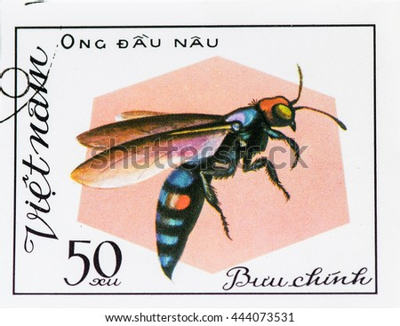 VIETNAM - CIRCA 1982: A stamp printed in Vietnam shows Insect Ong dau nau, circa 1982 - stock photo