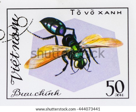 VIETNAM - CIRCA 1982: A stamp printed in Vietnam shows Insect To vo xanh, circa 1982 - stock photo