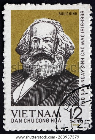 VIETNAM - CIRCA 1968: a stamp printed in Vietnam shows Karl Marx, Philosopher, Economist and Revolutionary Socialist, circa 1968 - stock photo