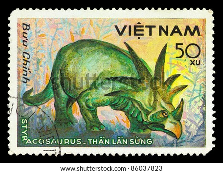 VIETNAM - CIRCA 1984: A stamp printed in Vietnam shows Styracosaurus, series devoted to prehistoric animals, circa 1984 - stock photo