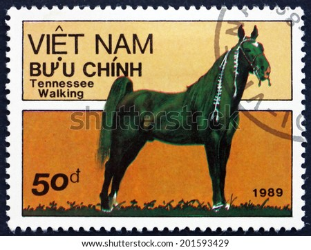 VIETNAM - CIRCA 1989: a stamp printed in Vietnam shows Tennessee Walking Horse, is a Breed of Gaited Horse Known for its Unique Four-beat Running Walk, circa 1989 - stock photo