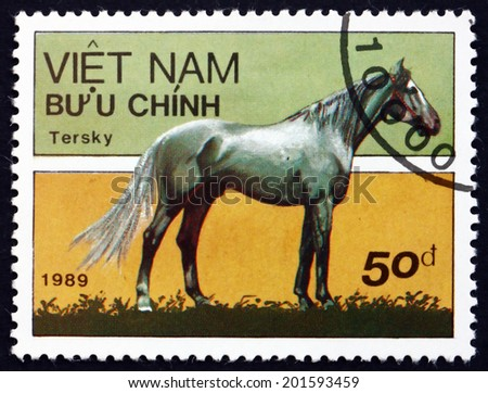 VIETNAM - CIRCA 1989: a stamp printed in Vietnam shows Tersk Horse, is a Breed of Horse Developed in the Northern Caucasus Mountains in Russia, circa 1989 - stock photo