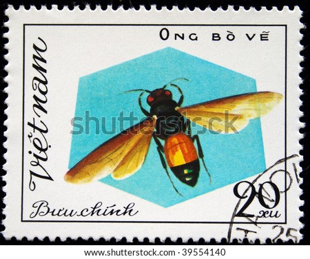 VIETNAM - CIRCA 1980s: A stamp printed in Vietnam shows insects, series, circa 1980s