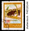 VIETNAM - CIRCA 1981: stamp printed in VIETNAM, shows mottled red beetles woodcutters, 60 coins, about 1981 - stock photo