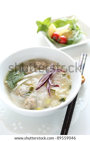 Vietnam cuisine, rice noodles with meat ball