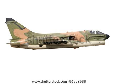 Vietnam era camouflaged A-7 Corsair fighter jet isolated - stock photo