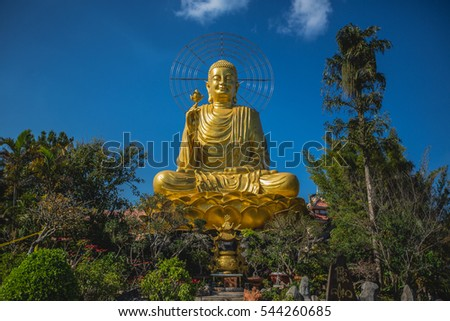 VIETNAM, FEBRUARY 2016 - Golden statue of giant Buddha