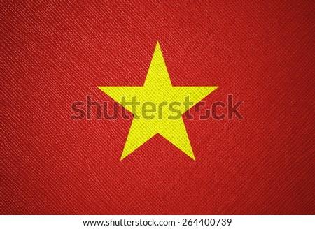 Vietnam flag leather texture - stock photo