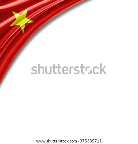 Vietnam flag of silk with copyspace for your text or images and white background