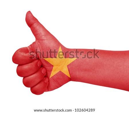 Vietnam flag on thumb up gesture like icon - stock photo
