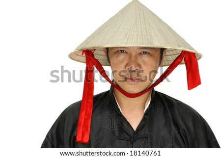Vietnam man with conical hat