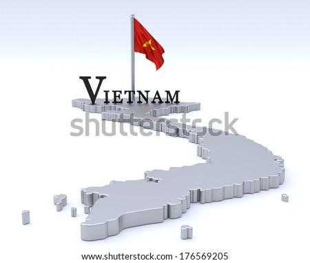 Vietnam map - stock photo