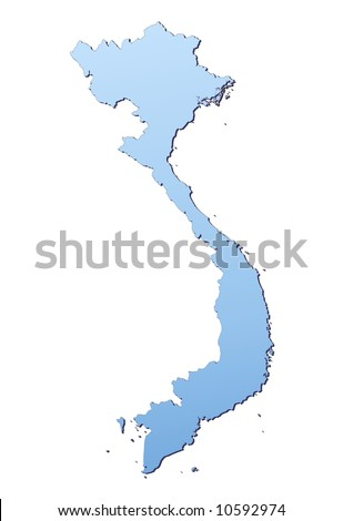 Vietnam map filled with light blue gradient. High resolution. Mercator projection. - stock photo
