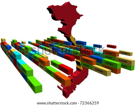 Vietnam map with stacks of export containers illustration