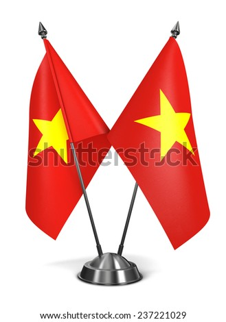 Vietnam - Miniature Flags Isolated on White Background.
