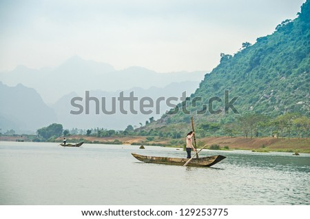 Vietnam - mountain landscape with river - stock photo