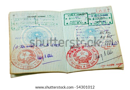 Vietnam passport. Pages for visa marks