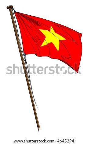 vietnam revolutionary red flag yellow star stock illustration