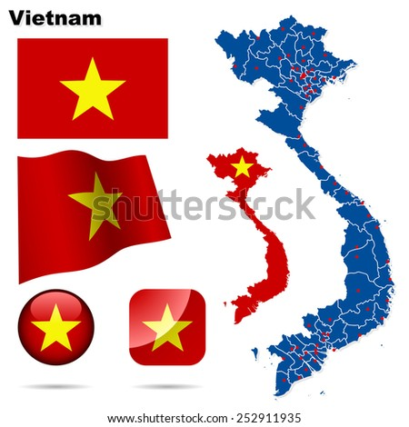 Vietnam set. Detailed country shape with region borders, flags and icons isolated on white background. - stock photo