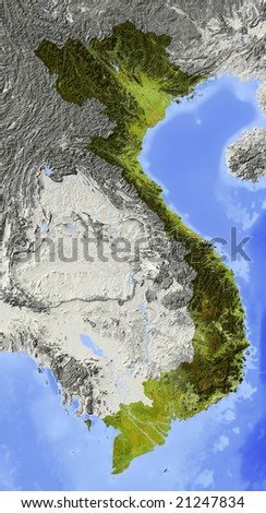 Vietnam. Shaded relief map. Surrounding territory greyed out. Colored according to elevation and dominant vegetation. Includes clip path for the state area. Data source: NASA