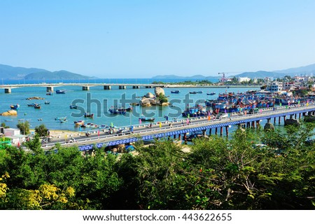 Vietnam, the Views of Nha Trang, the bridge on the river Kai