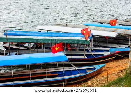 Vietnam tourist boats in lake,Da lat