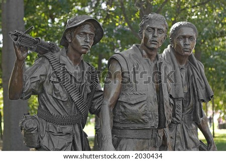 Vietnam War Memorial Statue (The Three Soldiers) - stock photo