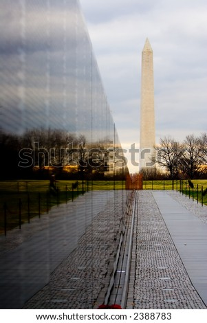 Vietnam War Memorial with Washington Monument - stock photo