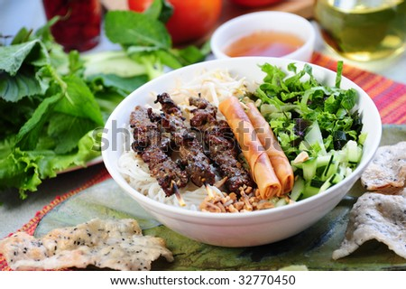 Vietname food thit nuong noodle - stock photo