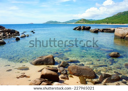 Vietnamese beach at Hang Rai, Phan Rang, Ninh thuan, coastal countryside, amazing with large rock, blue water, beautiful place for Vietnam ecotourism