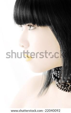 Vietnamese beauty model portrait on white studio background - stock photo