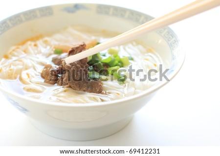Vietnamese cuisine, Beef rice noodles - stock photo