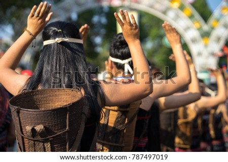 Vietnamese ethnic minority people closeup wears traditional costumes performing a traditional dance at an event organised in Daklak, center highland of Vietnam