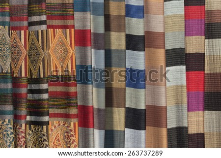 Vietnamese ethnic scarfs from White Thai people ethnicity - stock photo