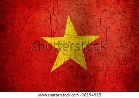 Vietnamese flag on a cracked grunge background - stock photo