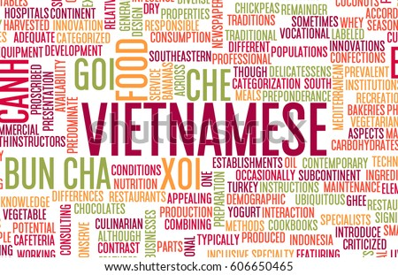 Vietnamese Food and Cuisine Menu Background with Local Dishes