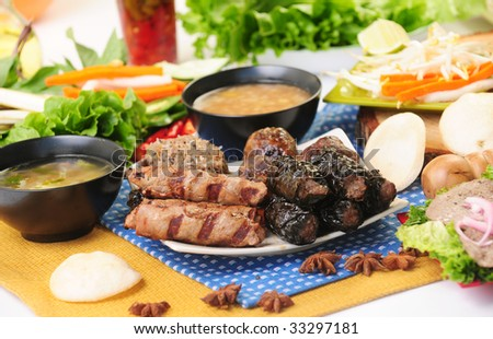 Vietnamese food bo 7 mon - stock photo