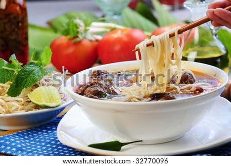 Vietnamese food bun bo heu - stock photo