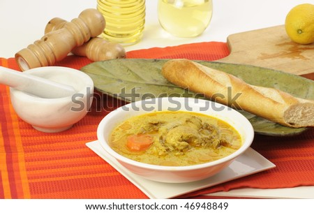 Vietnamese food curry with bread