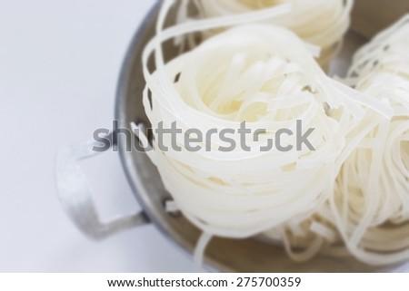 Vietnamese food ingredient, dried rice noodles - stock photo